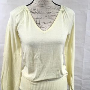 Express yellow v-neck sweater, pleated shoulder